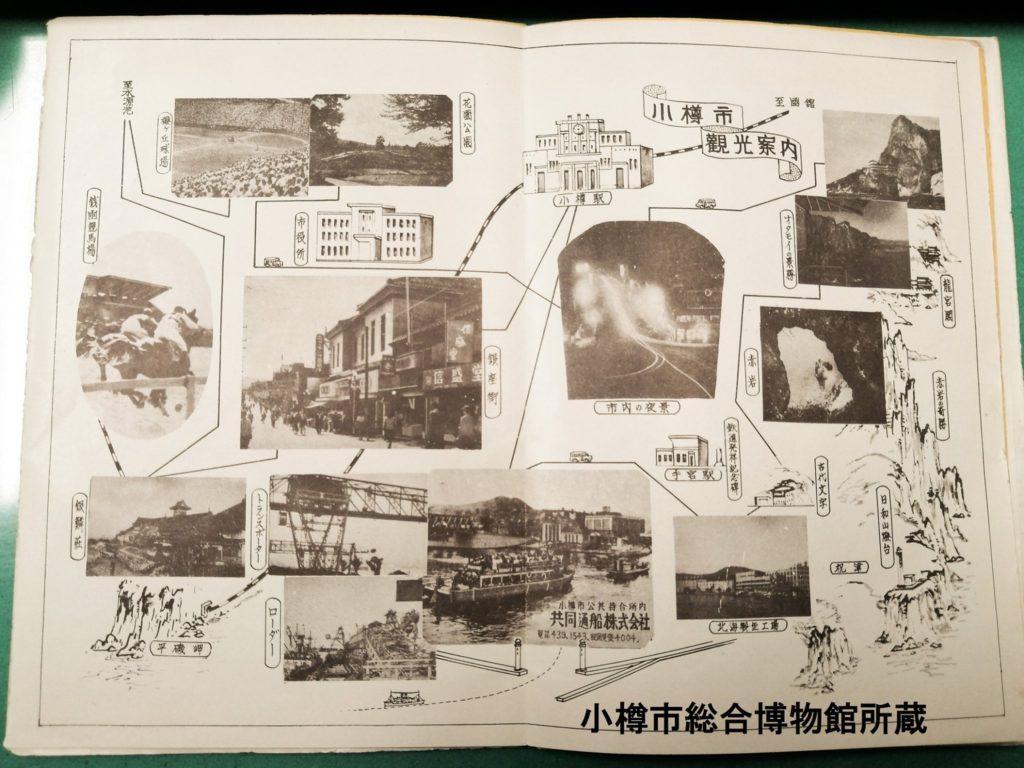 「小樽市観光案内」 左側に丸く切り取られた写真とともに「銭函競馬場」の名前が確認できます。 他にも、左上部に当時建設して数年しか経過していない桜ヶ丘球場が掲載されている点なども特徴的です